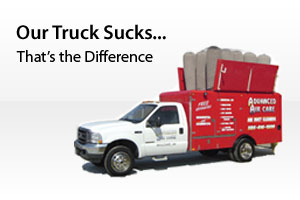 The difference is our Powervac Truck - a specialized duct cleaning vacumn